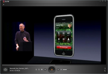 Steve Jobs Macworld 2007 Keynote in Zune Player