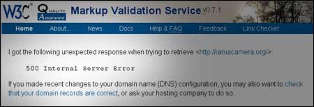 "W3C screenshot stating ""Internal Server Error 500"""